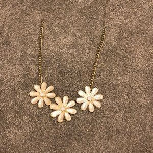 Oversized off white flower necklace